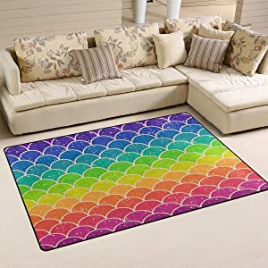 Comfort&products Non-Slip Area Rugs Home Decor, Rainbow Mermaid Scale Wave Floor Mat Living Room Bedroom Carpets Doormats Multi-Size