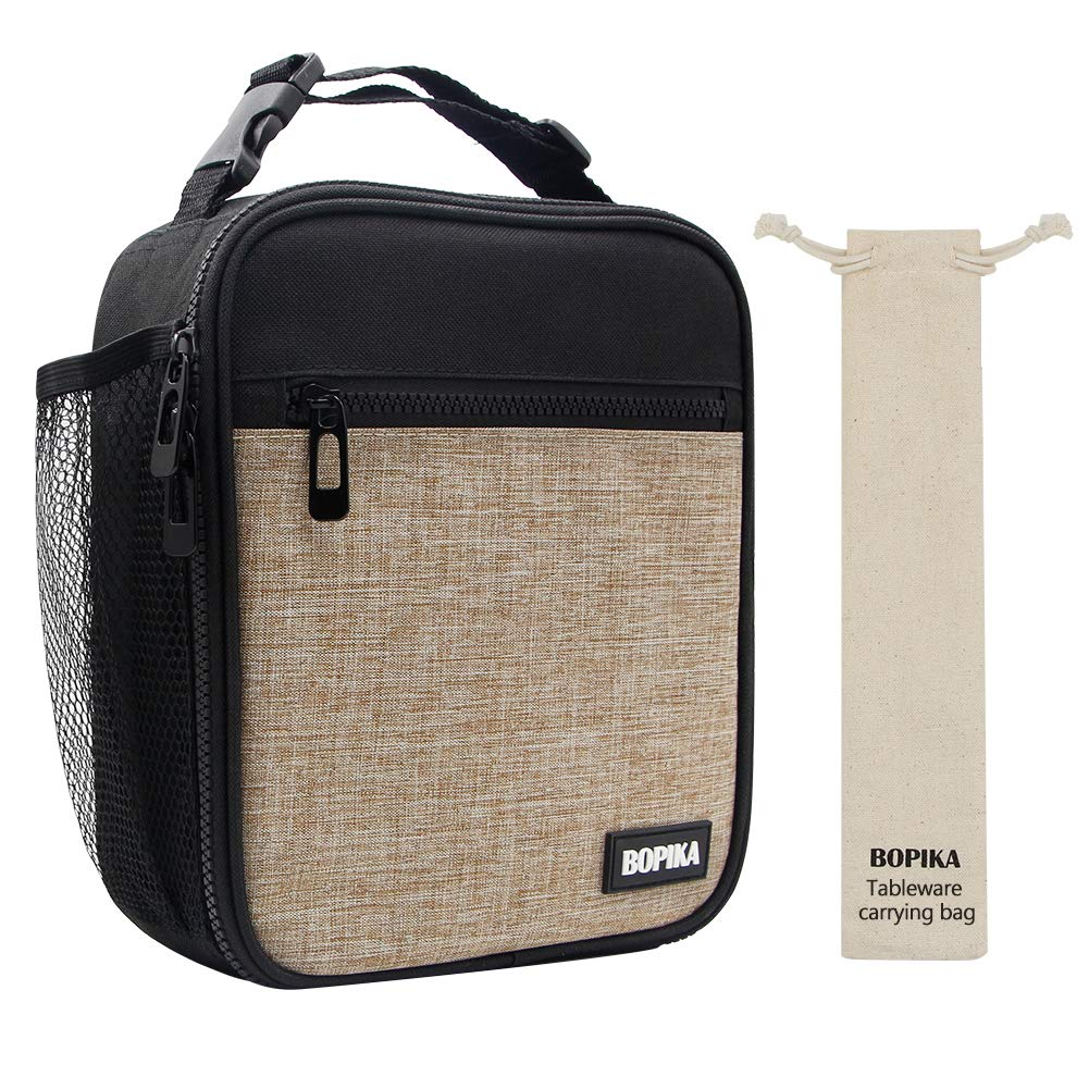 Lunch Bag Bento Lunch Bag Thermal Cooler Meal Prep Lunch Bag with Portable Tableware Carrying Bag for Men & Women & Kids (Grey)