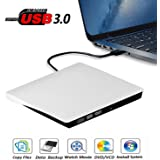 External DVD Drive, USB 3.0 Portable CD/DVD+/-RW Drive/DVD Player for Laptop CD ROM Burner Compatible with Laptop Desktop PC Windows Linux OS Apple Mac White