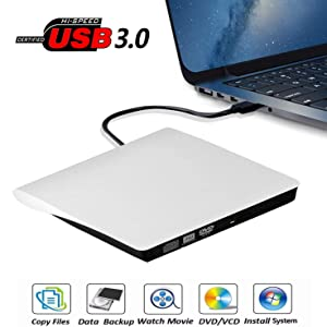 External CD DVD Drive USB 3.0 Portable 5.0GBPS Fits for DVD-R DVD-RW DVD+R DVD+RW DVD-ROM Super Speed Data Transfer Compatible for All Brands and Operating Systems of Laptops Windows MAC White