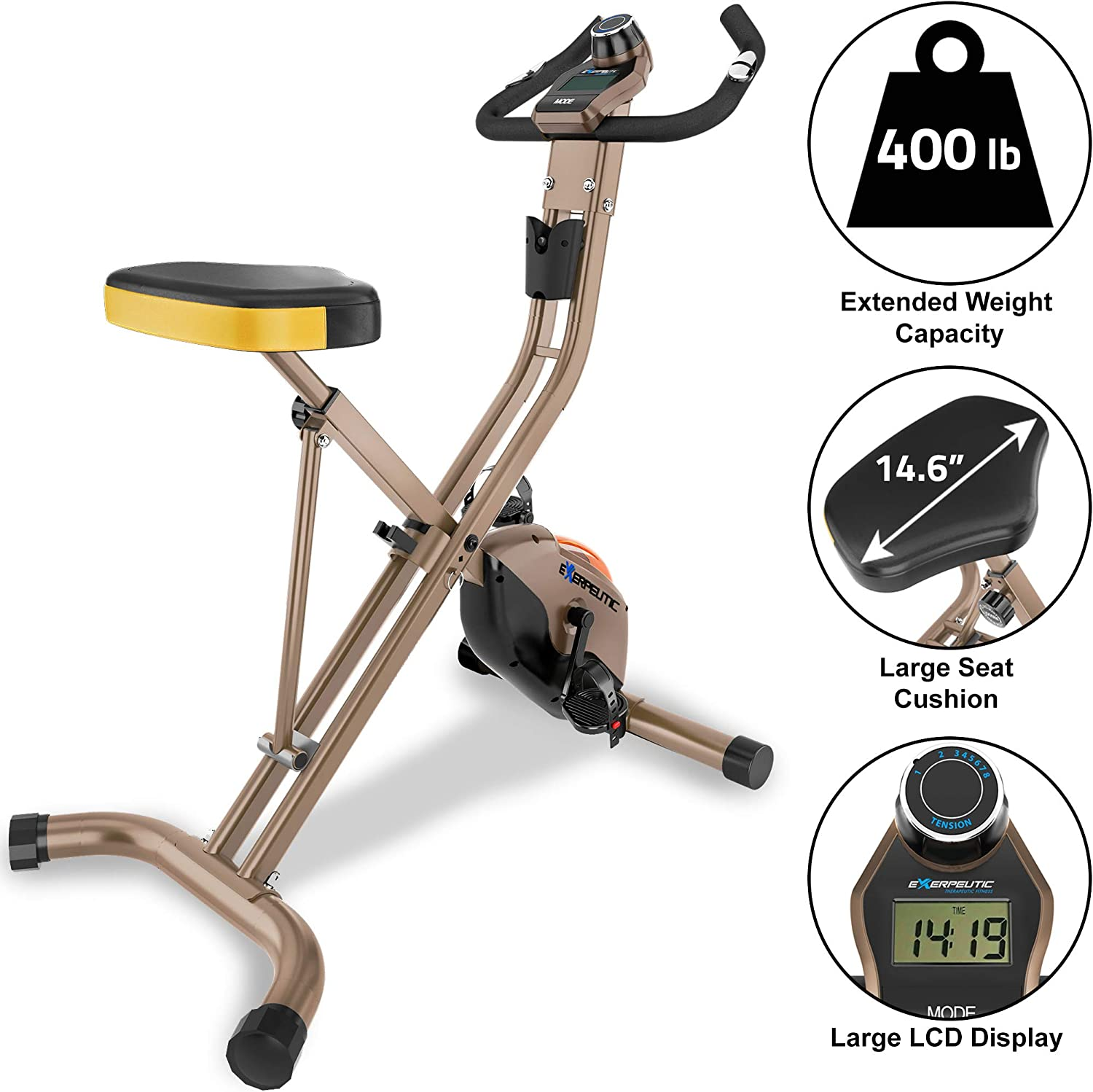 Exerpeutic Gold Heavy Duty Foldable Exercise Bike with 400 lbs ...