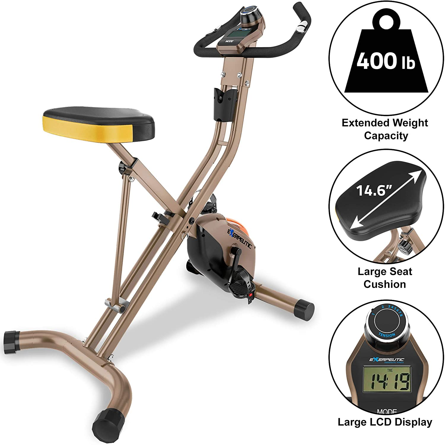 Exerpeutic Gold 500 XLS Foldable Upright Bike, 400 lbs ...