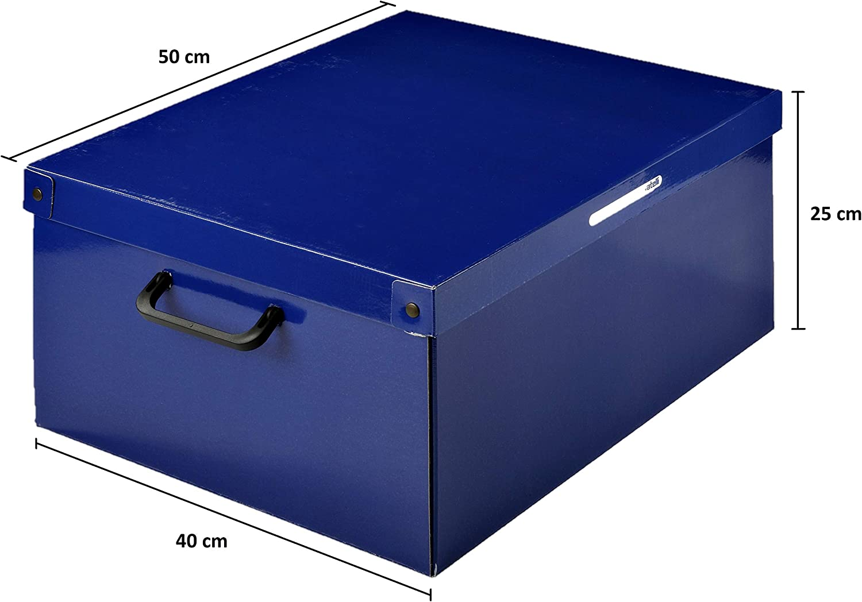 Blu//Bianco Misura Grande 50x40xh25 cm KANGURU Baulotto Scatola in Cartone per la sistemazione di Vestiti Lenzuola Guardaroba e Cambio Stagione Resistente Montaggio Facile e Veloce