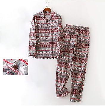 Pijama de manga larga para hombre, otoño, invierno, de algodón ...