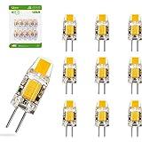 Liqoo® 10x 1.2W Mini Bombilla LED G4 COB LED AC DC 12V Blanco Cálido 2800K Equivalente a 10 W, 120Lm 260º Ángulo de haz, RA83, No Regulable,Super Mini 30*9.6mm