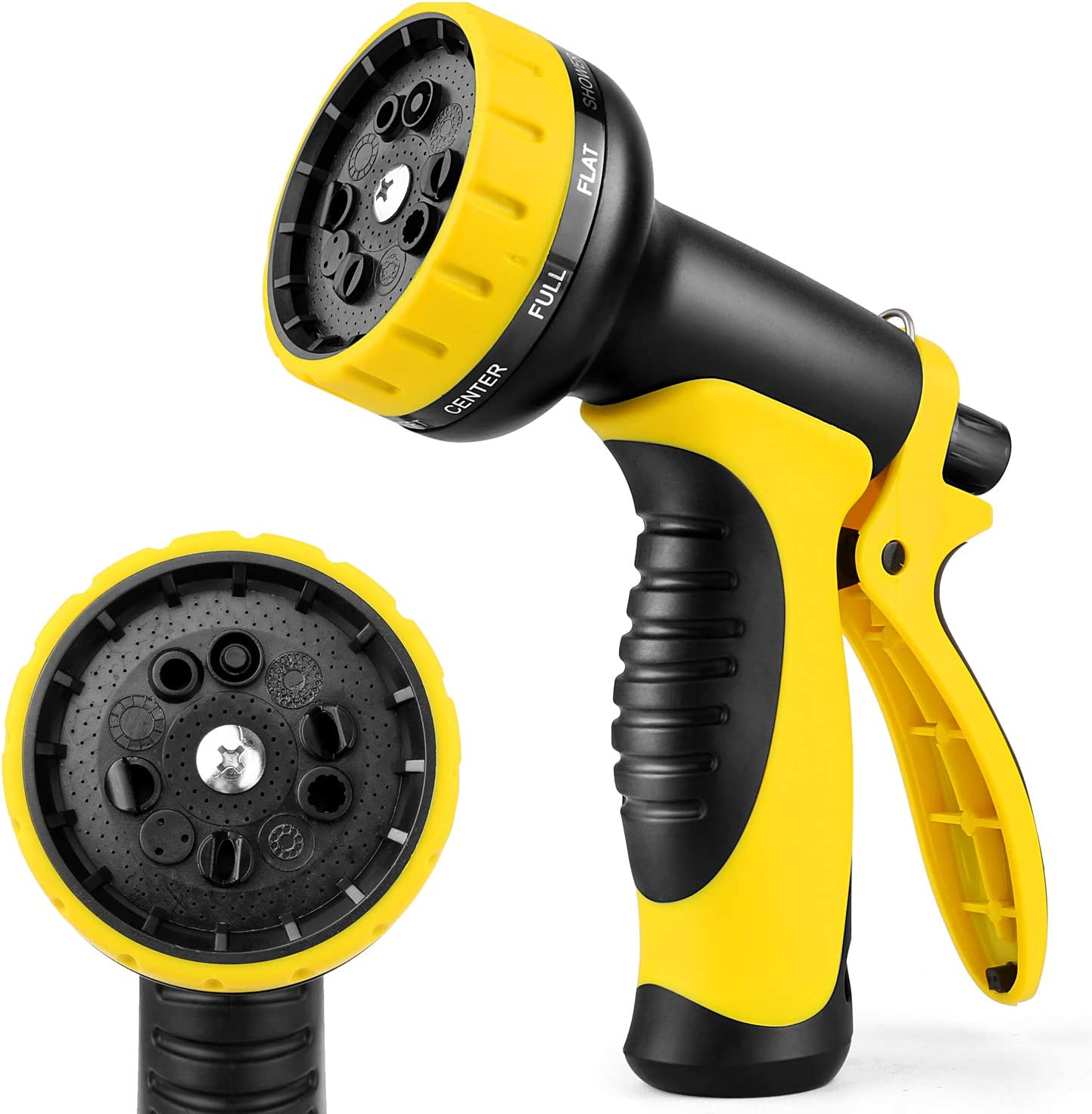 Garden hose nozzle,Multi-function nozzle, equipped with 10 adjustable watering modes, suitable for lawn and garden watering, pet bathing, cleaning and car washing...(Yellow)