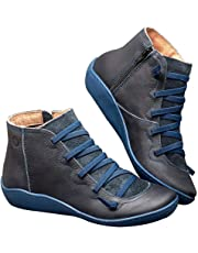 GoGlor Arch Support Ankle Boots Women Side Zip Casual Boots, Navy Vintage Breathable PU Leather Elastic Sole Low Heel Flat Ankle Boots for Travel and Daily Wear