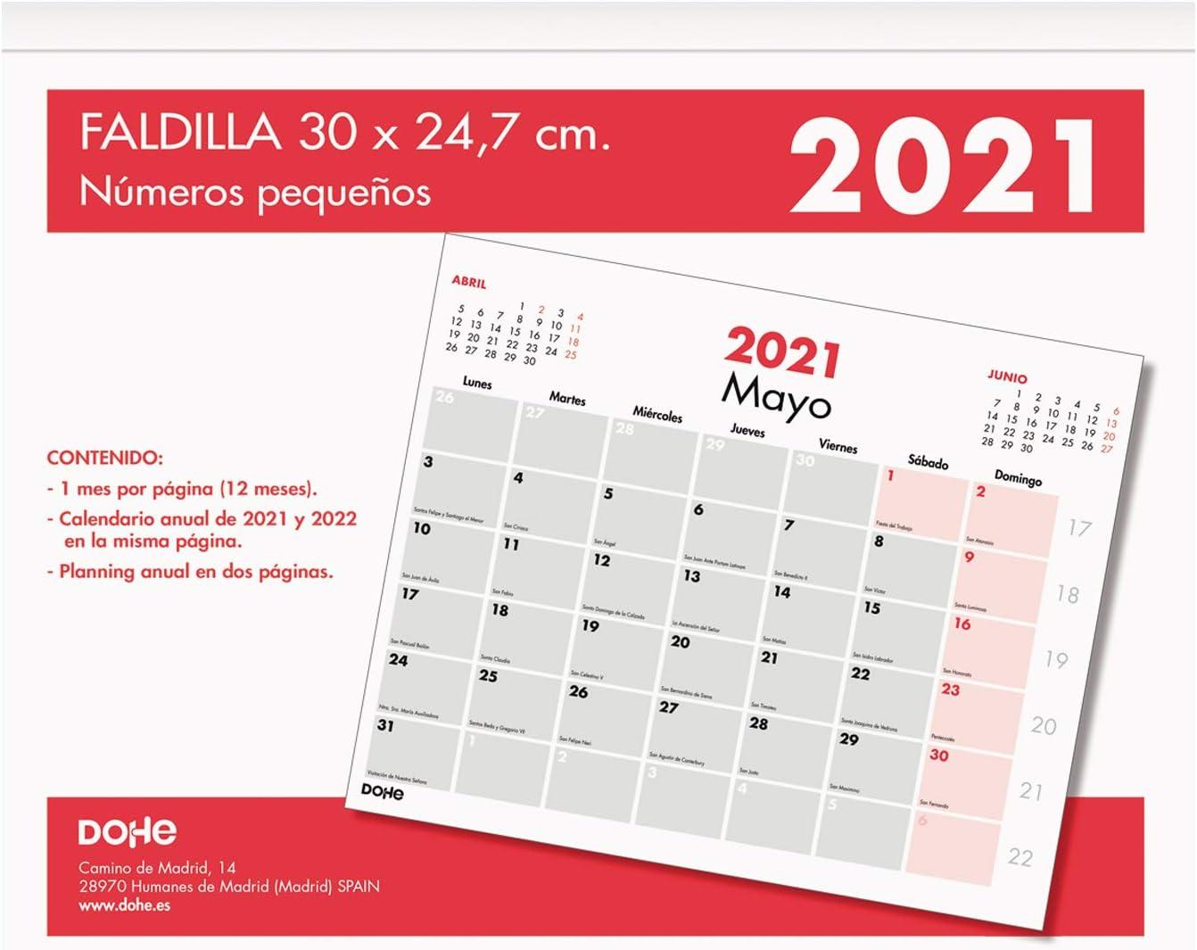 Dohe - Calendario Anual - Calendario Sobremesa - Tamaño 30 x 24,7 cm - Con números pequeños - 32 Páginas: Amazon.es: Oficina y papelería