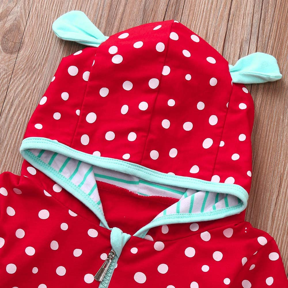KONFA Toddler Newborn Baby Boys Girls Dots Ears Hooded Rompers,for 0-24 Months,Kids Long Sleeve Jumpsuit Clothing Set