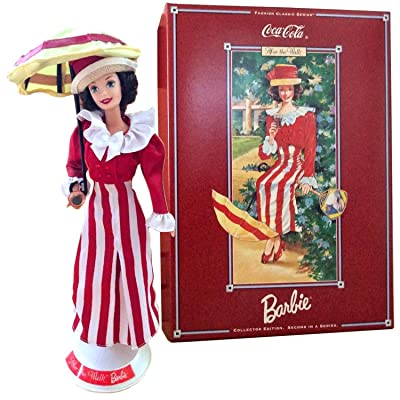 CCF Year 1997 Barbies Collector Edition Coca-Cola Fashion Series Classic 12 Inch Doll - After The Walk Doll in Colorful Red White Dress with Jacket, Hat, Doll Stand and Certificate of Authenticity: Toys & Games