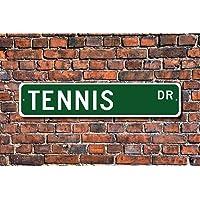"""CELYCASY Letrero de tenis con texto en inglés""""Tennis"""