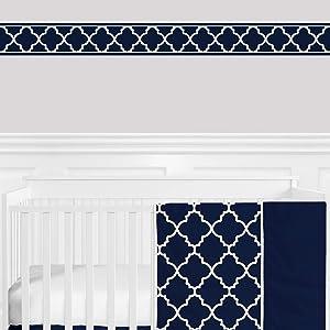 Sweet Jojo Designs Trellis Print Modern Lattice Wallpaper Wall Border for Navy and White Trellis Collection