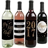 New Year's Eve - Gold - New Years Eve Party Wine Bottle Labels - Set of 4