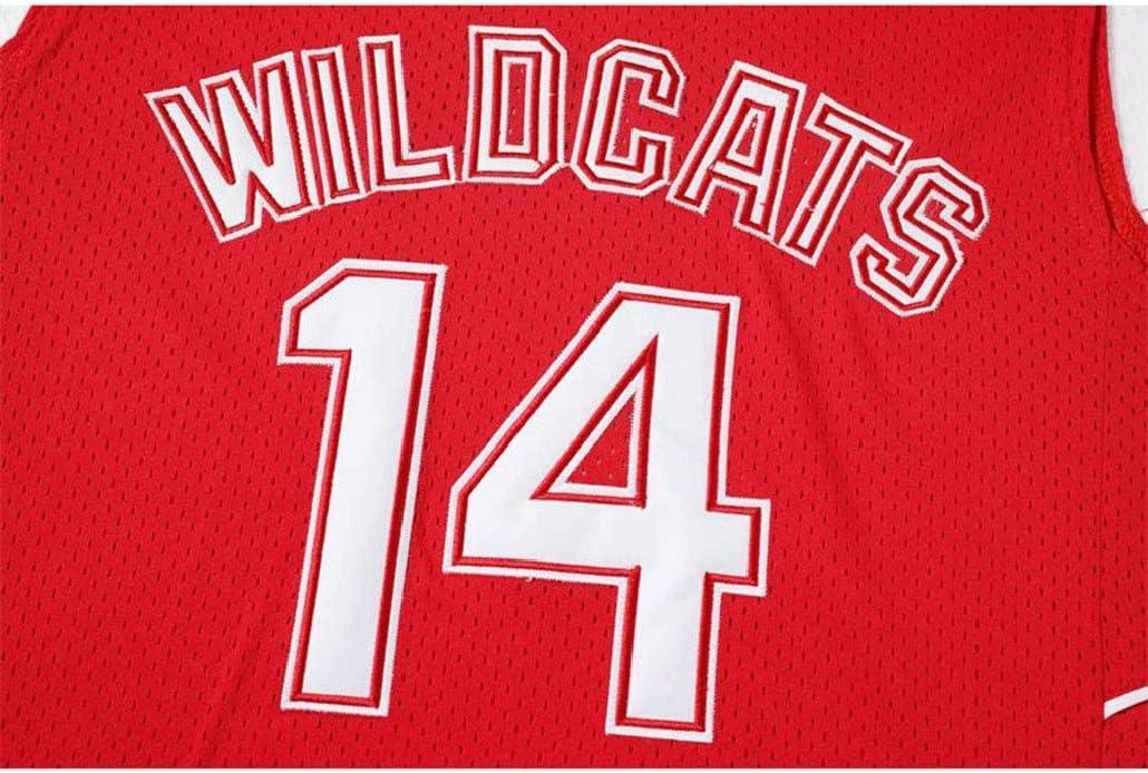 Auart Hommes # 14 Wildcats Troy Bolton Film High School Musical Version Arizona University Vintage Unisexe Jeunesse Manches Gym Sport Gilet