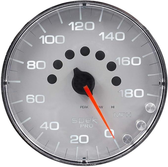 Programmable White//Chrome Speedometer 5 Elec Auto Meter AutoMeter P23011 Gauge 180 Mph Spek-Pro 5