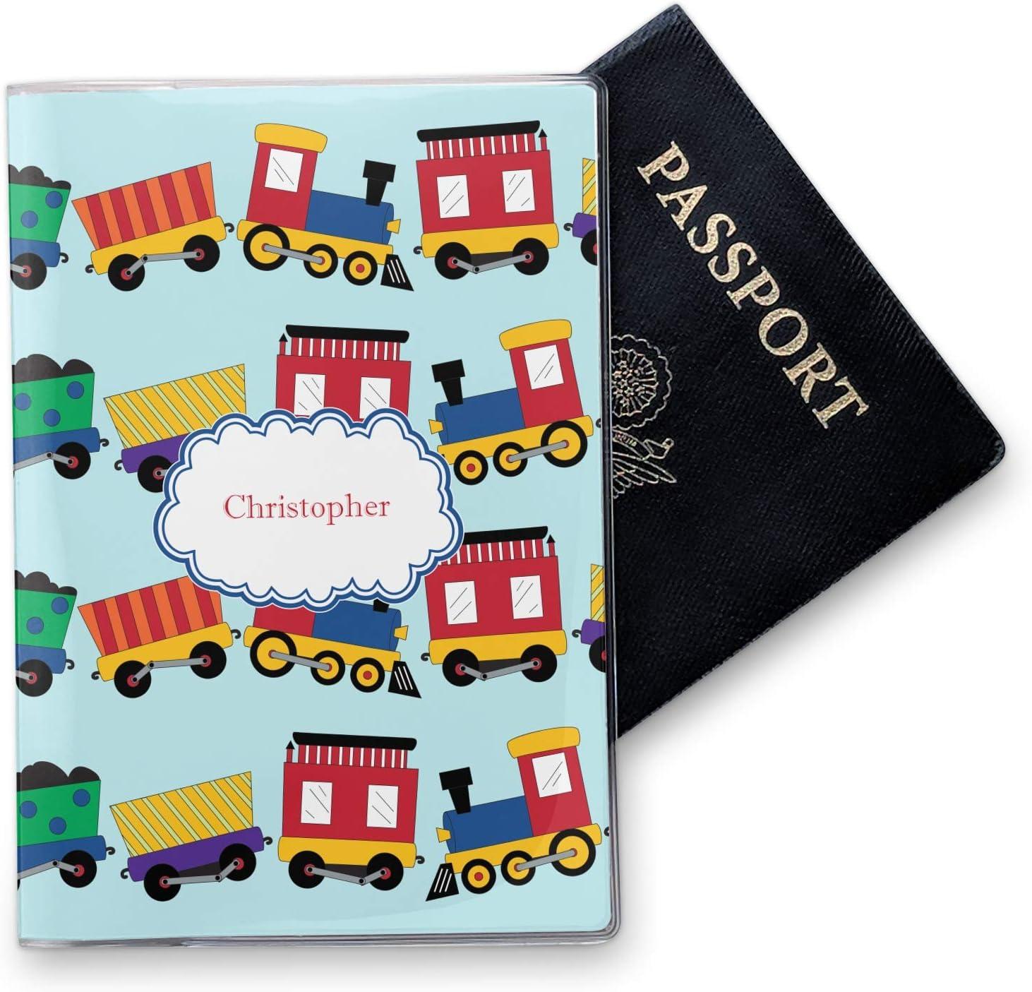 Personalized Trains Vinyl Passport Holder