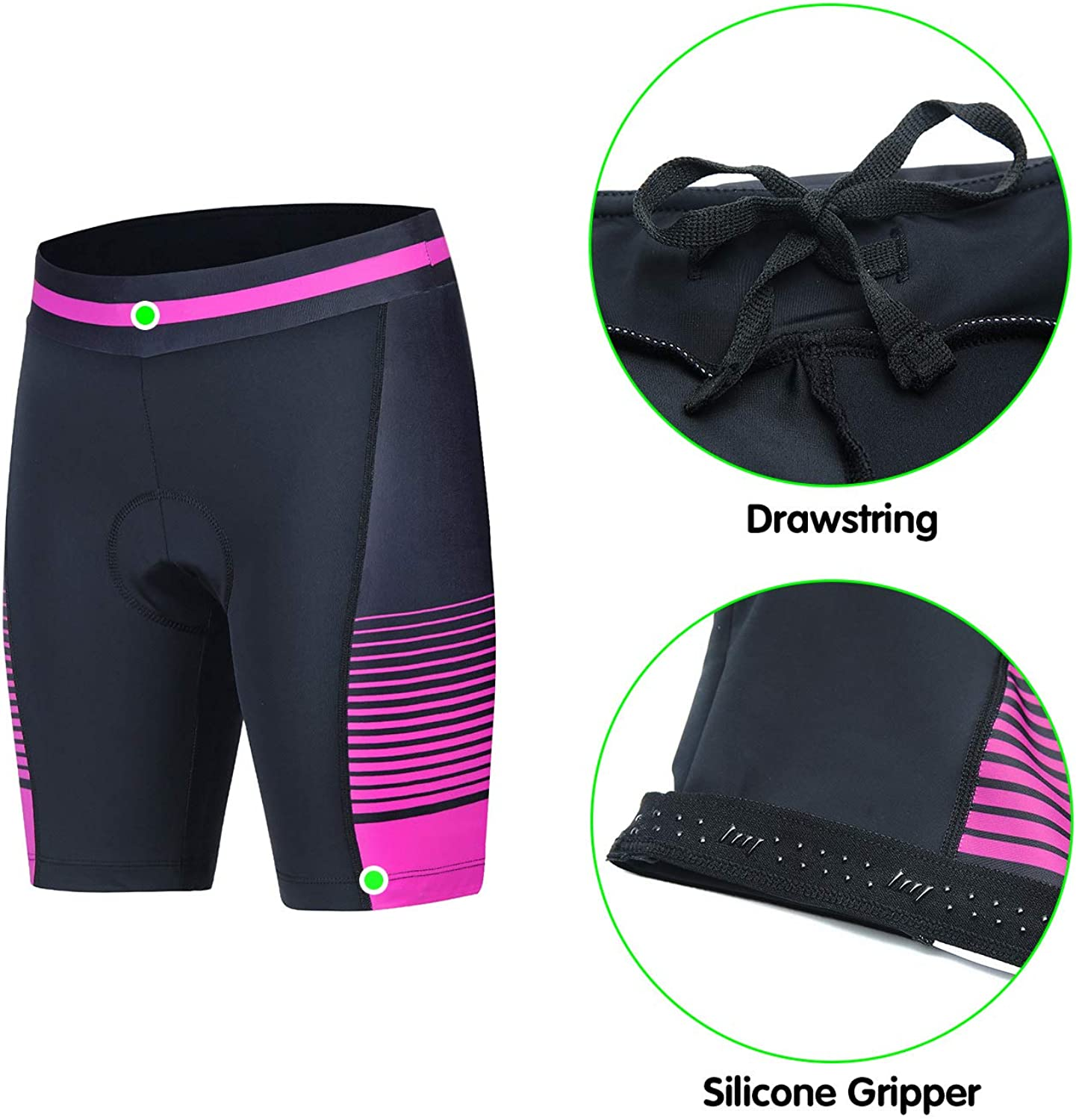 Womens Cycling Shorts With 3D Padded Bike Shorts With Reflective Elements