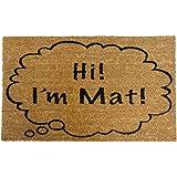 """Rubber-Cal """"Hi I'm Mat"""" Coir Doormat Funny Doormats, 18 x 30-Inch"""