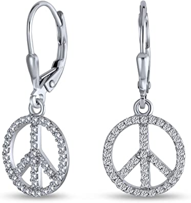 peace sign silver dangly earrings