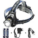 LED Stirnlampe Wasserdicht Wasafire USB Wiederaufladbare LED Kopflampe,XML-T6 4 Lichtmodi 2000lm, Perfekt für Camping,Joggen, Spazieren und andere Outdoor Sport