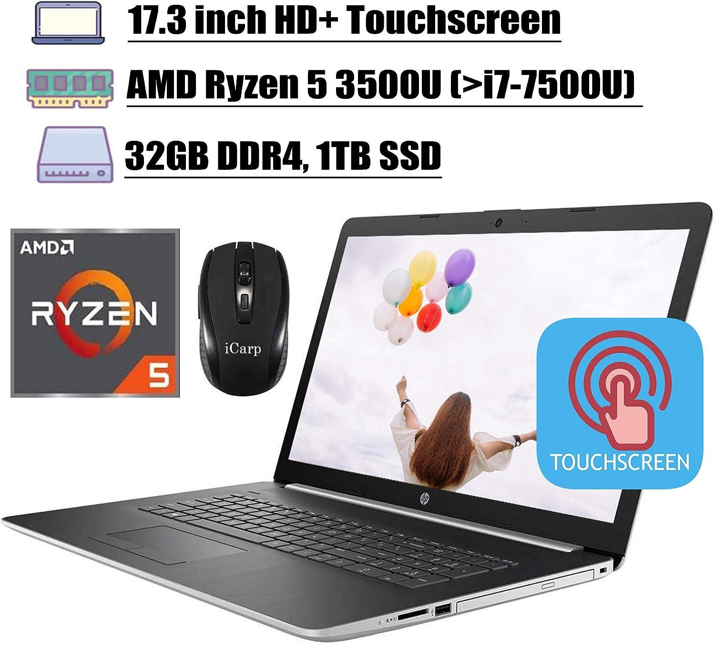 "2020 Latest HP 17 Flagship Laptop Computer 17.3"" HD+ Touchscreen Display AMD Quad-Core Ryzen 5 3500U (Beats i7-7500U) 32GB DDR4 1TB SSD WiFi HDMI Backlit KB DVD Win 10 + iCarp Wireless Mouse"