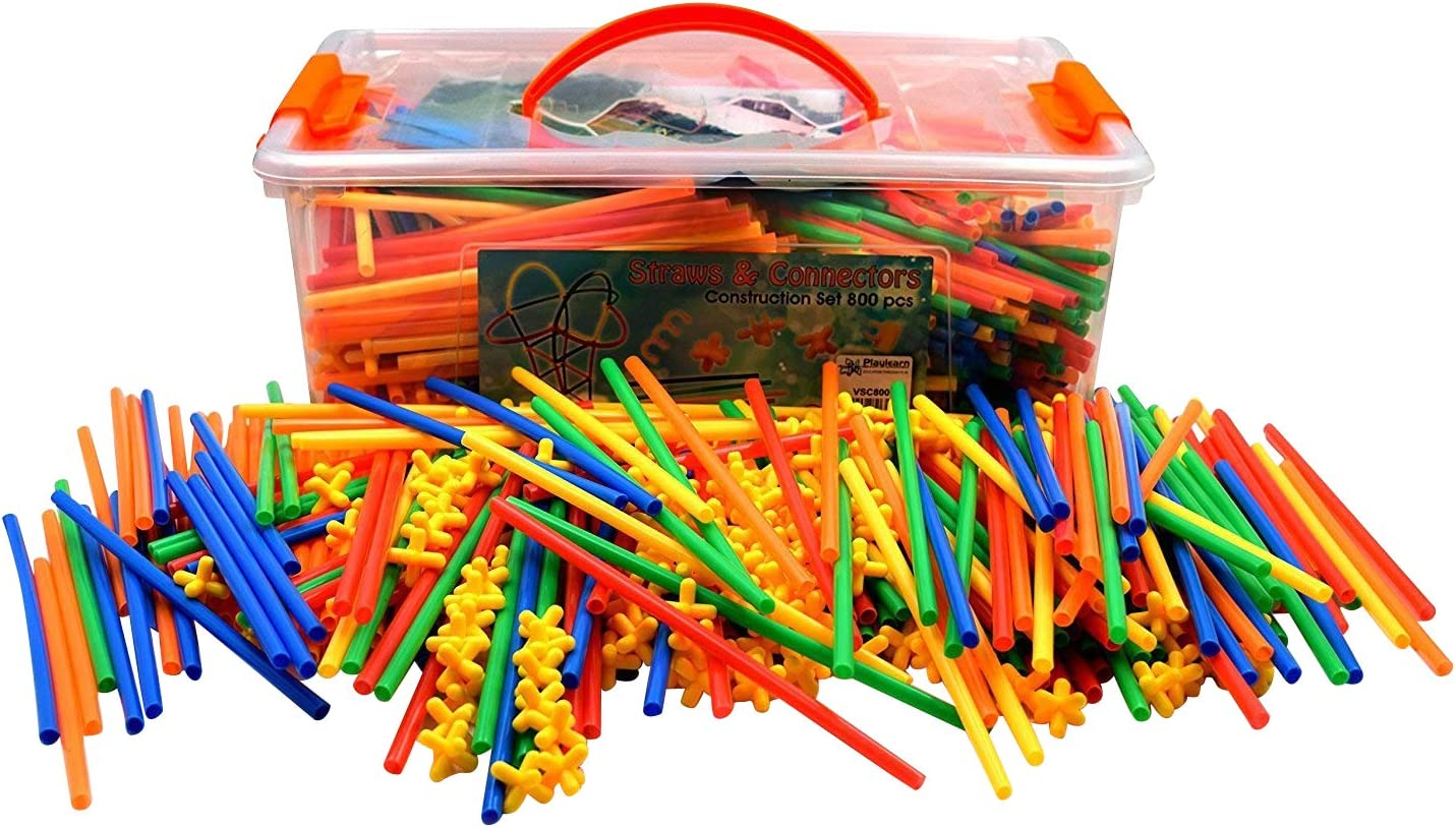 Playlearn LARGE 800 Piece Straws Builders Construction Building Toy - Giant Pack with Special Connectors