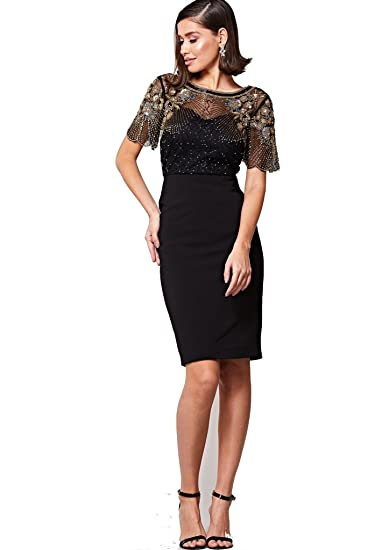 c444ed963755 Virgos Lounge Reigna Dress Black (12): Amazon.co.uk: Clothing