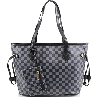 851a81dfa656 Amazon.com  Ladies Shopper Checkered Handbag Women Top Handle Designer  Party Tote bag (Black)  Shoes