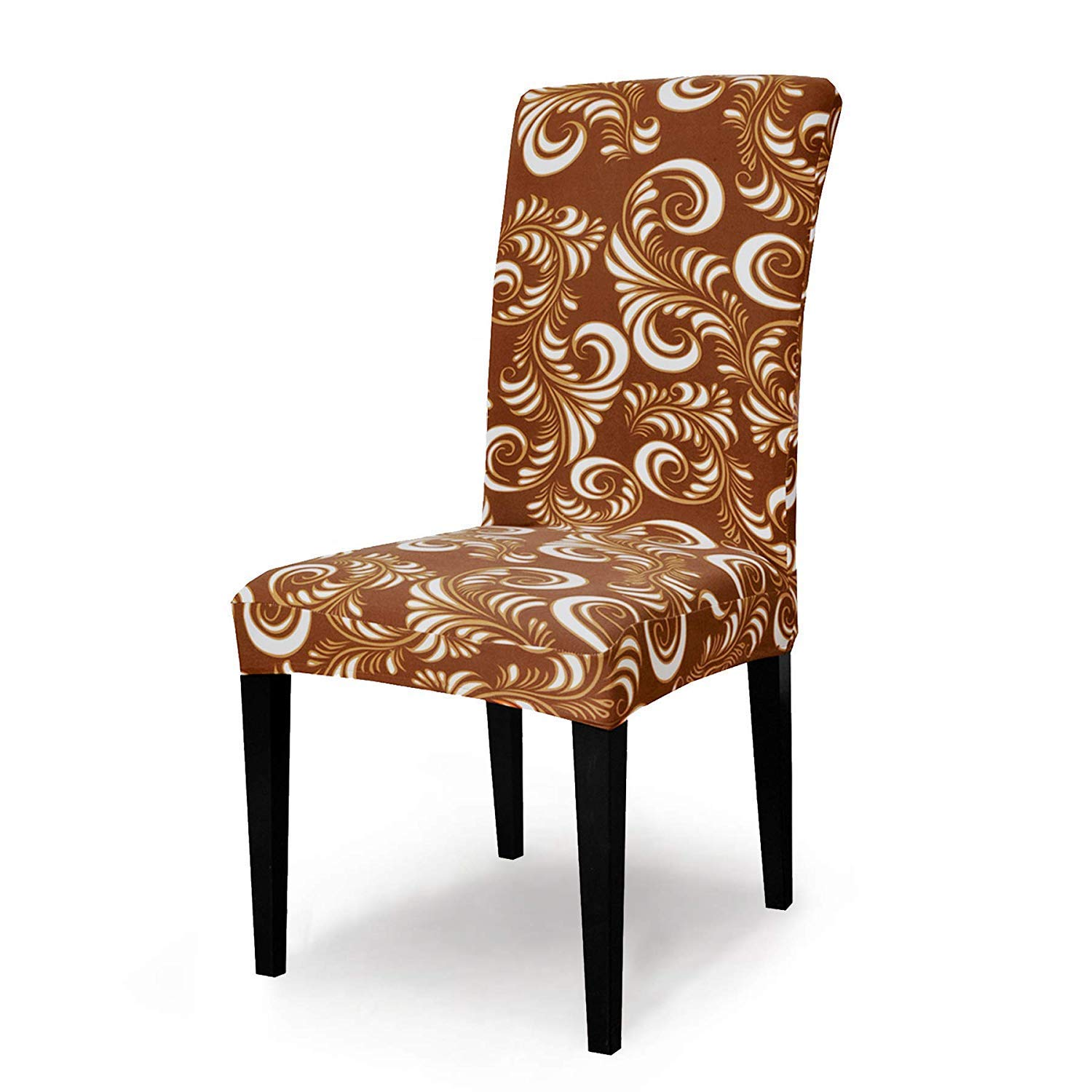 chair cover004 TIKAMI Stretch Chair Slipcovers for Dining Room Seat Covers Washable Spandex Chair Furniture Protector 6pcs, Gold Flower