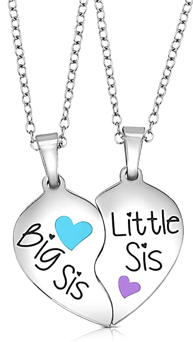 e71d875e068e1 2 Piece Heart Halves Matching Big Sis Little Lil Sis Sisters Necklace  Jewelry Gift Set Best Friends - Sister Necklaces for 2