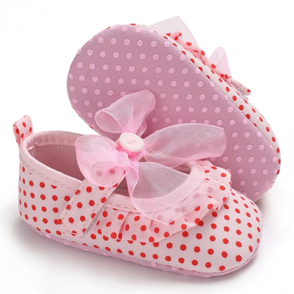 Voberry@ Baby Girls Dots Lace Bowknot Mary Jane Shoes Soft Sole Infant First Walker Crib Shoes