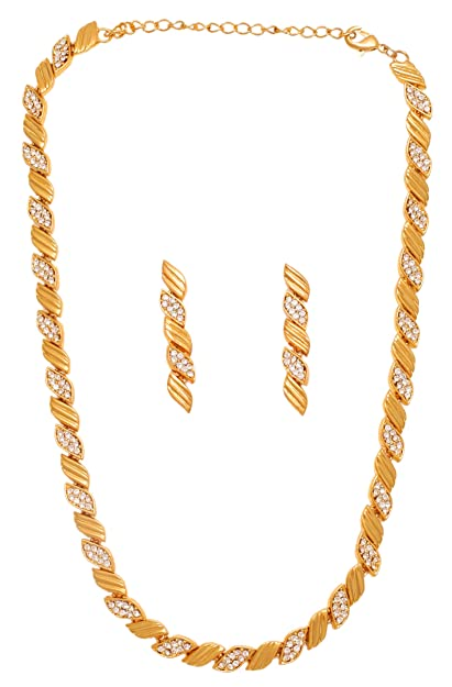 0319b0e13 Touchstone Western Collection Alloy Gold Plated Rhinestone Necklace Set for  Women