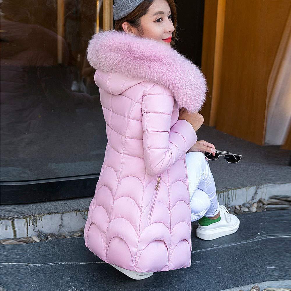 Riou Cappotto Donna Elegante Corti//Lunghi Piumino Invernale Giacca di Cotone Caldo Spessa Parka Cardigan Piumini con Cappuccio Invernali Taglie Forti Giacche da Donna
