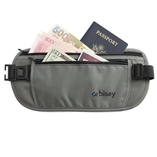 Orbisey Travel Adventure Hidden Waist Money Belt Water-Resistant for Passport, Credit Cards, Phone, Documents One-Size Fits All (Gray) best travel belts