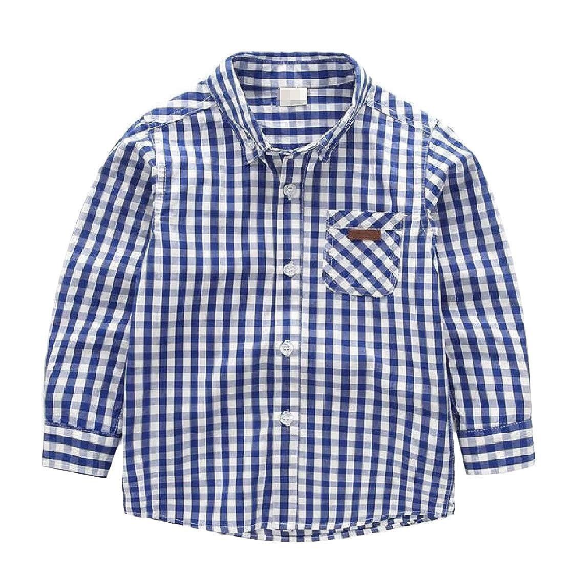 Hajotrawa Boy Lovely Long Sleeve Checkered Lapel Button-Down Shirts