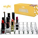 Lipstick Organizer storage Display Stand - Multi Level 24 Deep Slot Clear Makeup Holder Fits all Beauty Items Gloss Nail Polish Brushes Made Thick & Strong With Premium Quality Acrylic