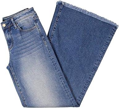 Amazon Com Pantalones Vaqueros Anchos De Mezclilla Para Mujer De La Pierna Del Dobladillo Deshilachado Clothing