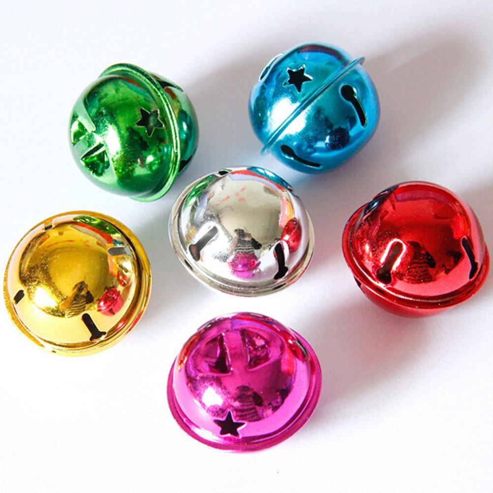 SevenMye 100 Pcs Mini Jingle Bells 10mm for Christmas,Wedding Decoration,Pet Ornament and Crafts,Sewing,Knitting,Jewelry Making