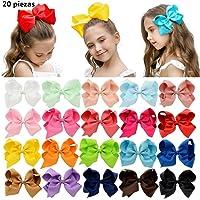 """PUBAMALL Multicolor Grosgrain Ribbon Boutique Hair Bows Pinzas de cocodrilo para niñas bebés Adolescentes Niños pequeños (20 piezas 6"""")"""
