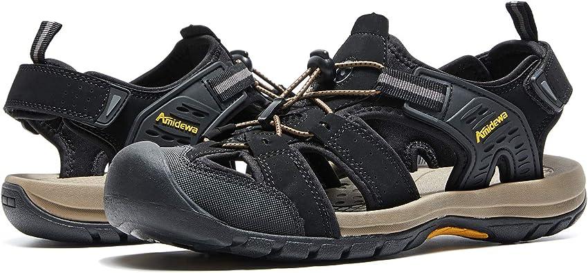 AMIDEWA Men's Sports Sandals Closed Toe