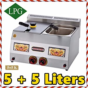Dual Tank 5+5 lt. Total:10 LT. Capacity, Stainless Steel Countertop Tabletop Propan PROPANE (LPG) GAS Deep Fryer with 2x Basket and 2x Lid INCLUDED, Commercial industrial Kitchen or for Home Use