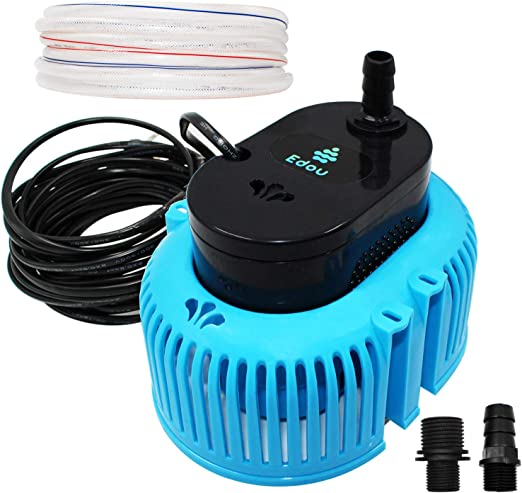 EDOU 850 GPH Swimming Pool Cover Pump Above Ground,Including 16\' Drainage  Hose and 3 Adapters,Ideal for Water Removal,Blue and Black