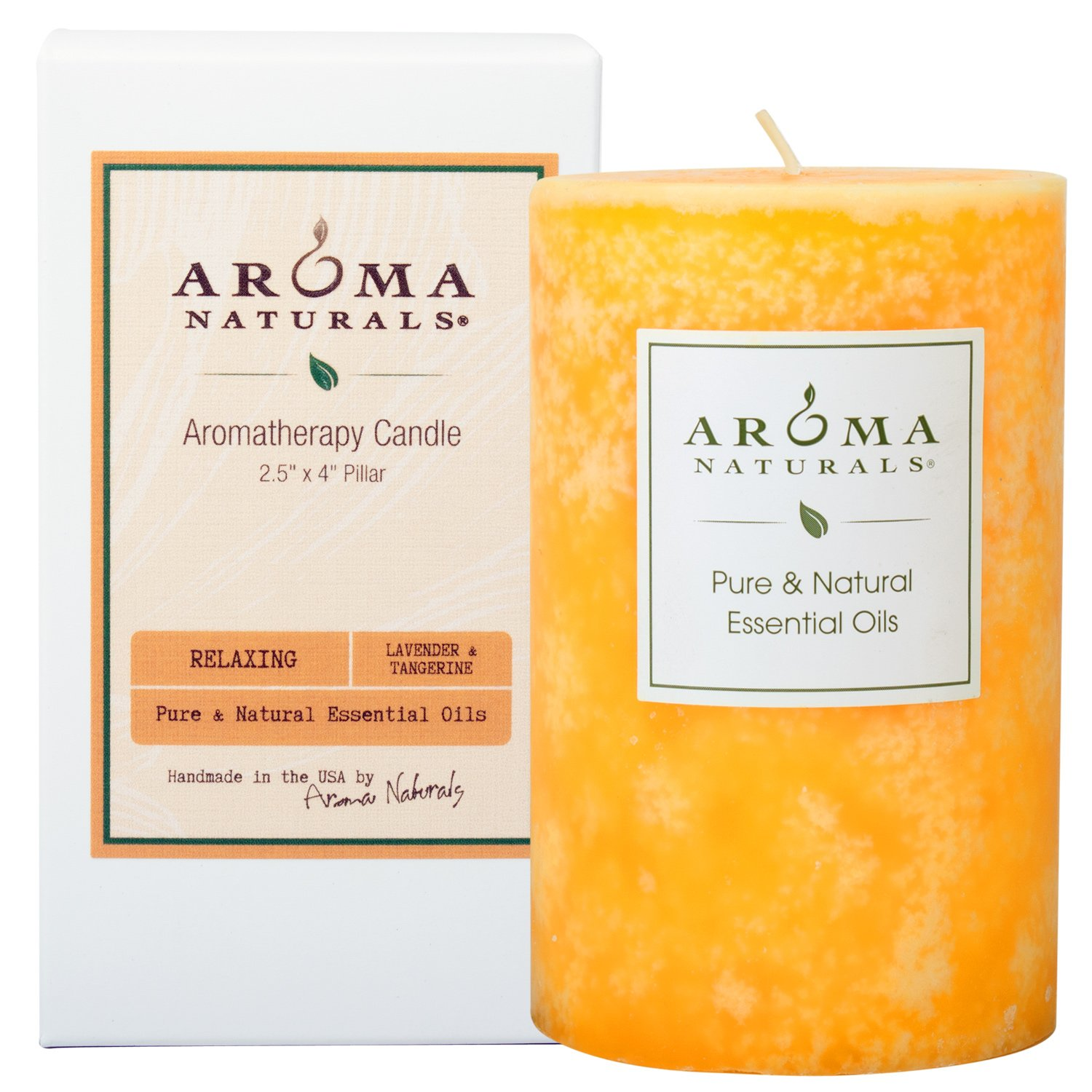 Aroma Naturals Essential Oil Lavender & Tangerine Scented Pillar Candle, Relaxing, 2.5 inch x 4 inch: Beauty
