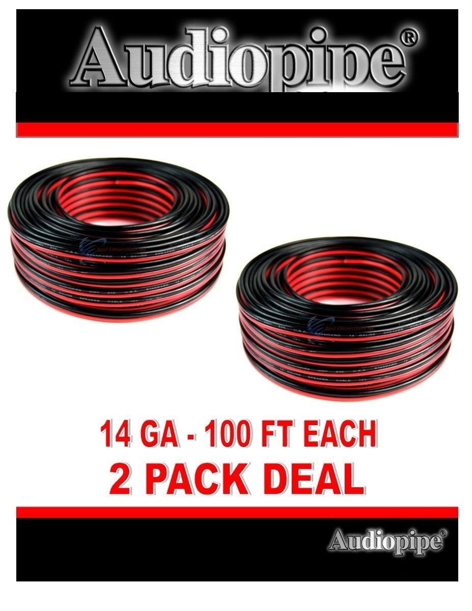 2 Pack 14 Gauge 100 Feet Red Black Stranded 2 Conductor Speaker Wire Car Audio