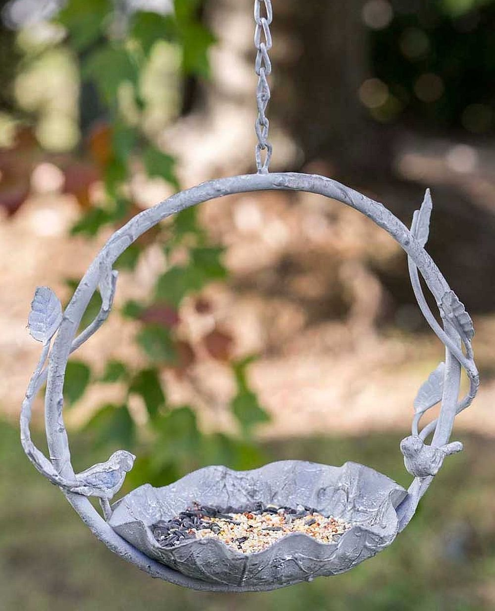 CTW 450047 Small Decorative Hanging Finchwood Rustic Bird Feeder for Outdoor Garden Yard Decor Cast Iron Metal Farmhouse Style Home Decor Gray
