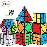 mimisasa Speed Cube 8+1 Pack Smooth Magic 3D Puzzle Rubiks Cube 2x2 3x3 4x4 Pyramid Cubes Megaminx Mirror Skew Cube
