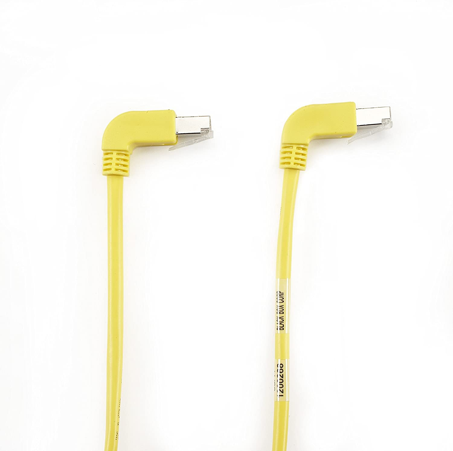 1FT YL CAT5e 100MHz Angled Patch Cable F//UTP CM Down-Down