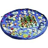 おもちゃ収納バッグ HOMECUBE 直径150cm 子どもプレイマット ブロック片付け ドローストリングバッグ 片付けマット レゴ 収納 防水 ストレージバッグ (ブルー)