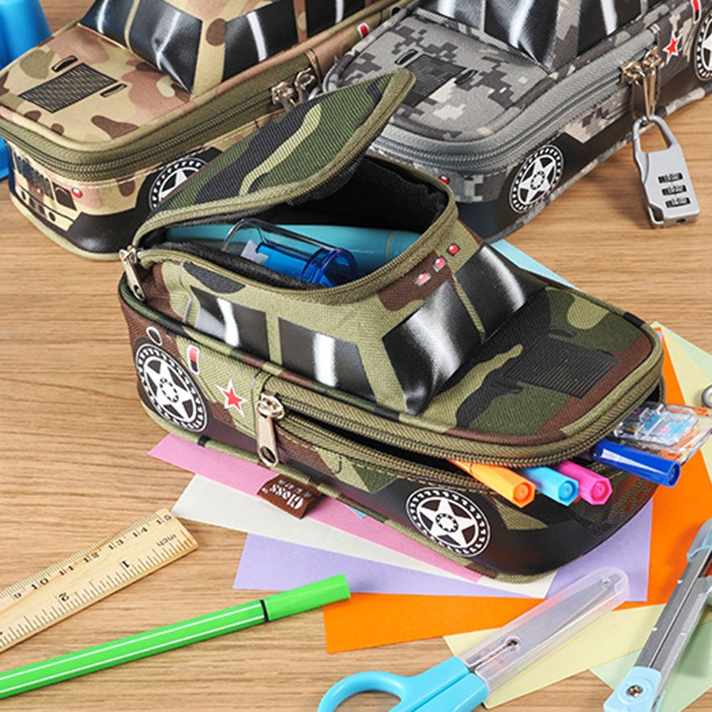 Pencil Case Army Off-Road Car Pencil Pen Punch with Lock Camouflage Middle School High School Students Stationery Organizer Zipper Bag for Highlighters Gel Pen Markers Large Capacity Pencil Pen Case