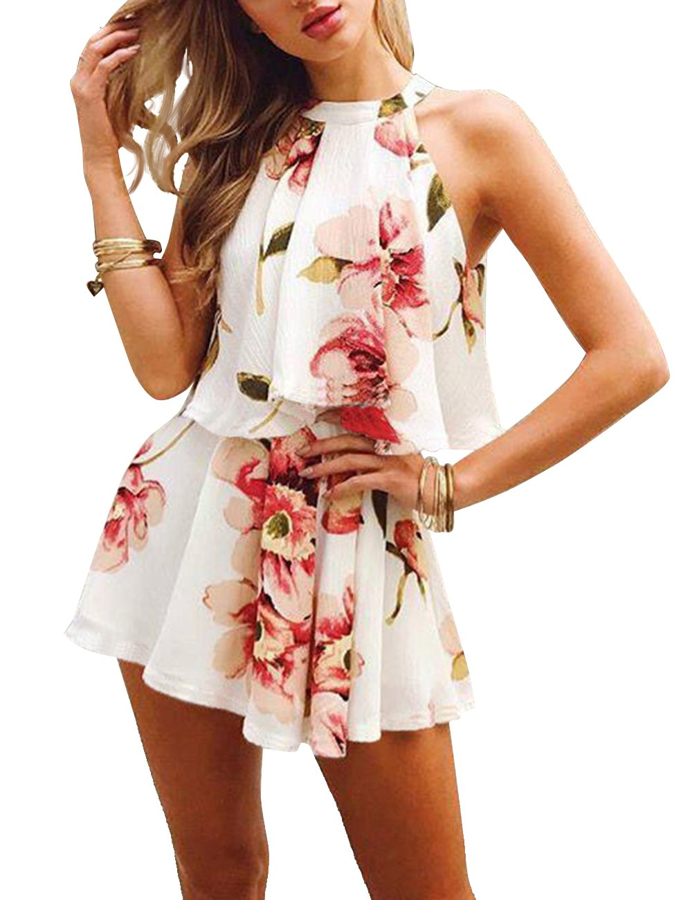 Omerker Women's Floral Sleeveless Romper Two Piece Summer Outfits Playsuit Short Jumpsuit